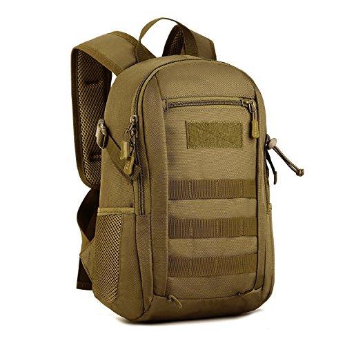 🥇 Huntvp 12L/20L Mochila de Asalto Militar Táctical Molle Bolsa Bandolera para Senderismo Caza Camping Color Negro Marrón