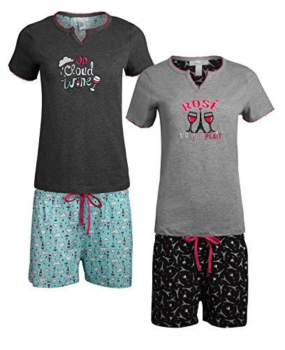 Rene Rofe Women's Sleepwear Short Sleeve V-Neck Top and Shorts Pajama 4-Piece Set, On Cloud Wine, Size Medium' (Adult Lounge Shorts)