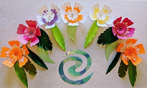 Hibiscus Paper Flowers for Moana Backdrops - Includes 7 Paper Flowers and 13 Paper Leaves - Fully Assembled (13 Backdrop)