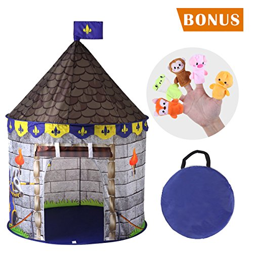 Girl Puppet Professional (SilverFox Castle Tent Indoor and Outdoor Toddler Pop Up Tent, Foldable and Lightweight, for Boys and Girls with 2pcs Finger Puppets as Bonus)