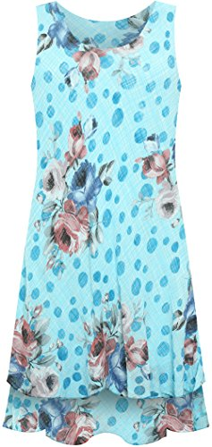 Linen WearAll Loose Women's Scoop Hem New 16 Wavy Turquoise Ladies Floral 10 Frilly Lined Print Dress Womens rqvAwHr