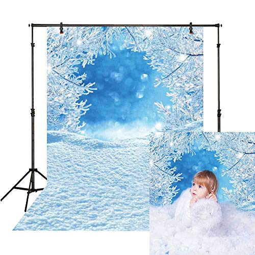 Funnytree 5x7ft Winter Snow Frozen Tree Backdrop for Photography Christmas White Blue Ice Glitter Snowflake Wonderland Vinyl Background Professional Newborn Baby Portrait Photo Studio Photobooth Props ()