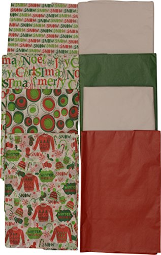 Christmas Printed Tissue Paper, 150 Sheets, Red, Green, White and holiday prints - Michael Floral Print