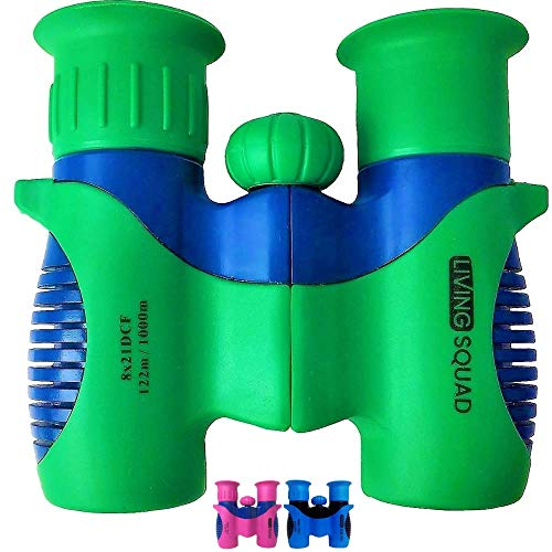 Living Squad Kids Binoculars 8x21 Shock Proof - High Resolution Compact Binoculars Set with Real Optics for Bird Watching, Hunting, Hiking - Birthday Present for Girls Boys, Outdoor Gift for Children ()