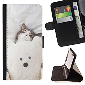 Super Marley Shop - Leather Foilo Wallet Cover Case with Magnetic Closure FOR Apple iPhone 6 6S Plus 5.5- Bear Cat Cute