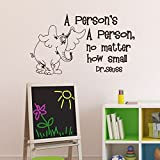 """Wall Decal Decor Vinyl Wall Decal - A Person's A Person No Matter How Small - Dr Seuss Quote Baby Nursery Kids Room Wall Decal Sticker(dark gray, 13""""h x22""""w)"""