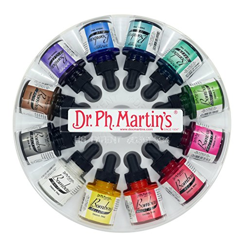 Dr. Ph. Martin's 800871-XXX Bombay India Ink Bottles, 1.0 oz, Set of 12 (Set 1)