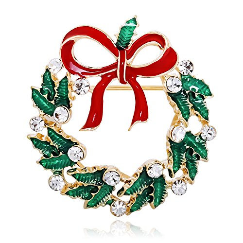 sourjas Fashion Jewelry Gold-Tone Flower Cluster Holiday Xmas Wreath Colorful Enamel Brooch Pin