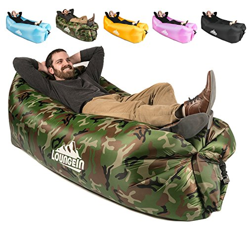 LoungeIN Inflatable Lounger - Multi Functional Portable Water Resistant Inflatable Lounge Chair (Camo)