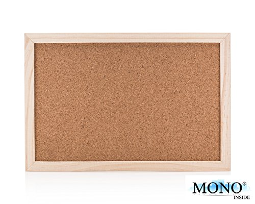 MONOINSIDE Small Wood Framed Cork Bulletin Board, Wall Mountable Push Pin Notice Board for Offices, Schools and Classrooms, 12