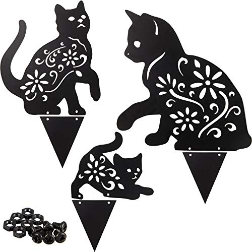 3 Pieces Halloween Metal Cat Silhouette Stake Black Cat Garden Decorative Stake Cute Animal Statues Decoration for Yard…