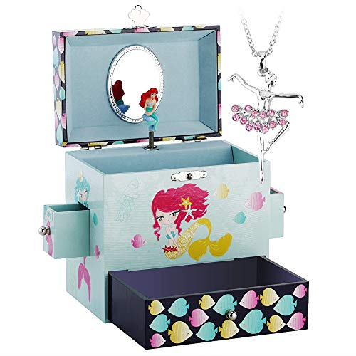 (Round Rich Musical Jewelry Box - Musical Storage Box with Drawer and Jewelry Set with Lovely Mermaid Theme - Swan Lake Tune)