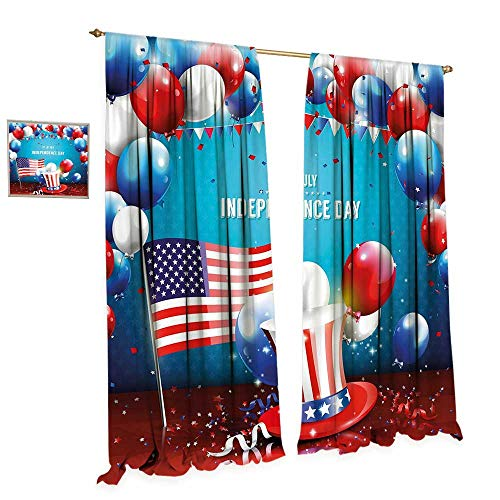 cobeDecor 4th of July Window Curtain Drape Festive Celebration of The Important Day Uncle Sam Hat Flag Balloons Decorative Curtains for Living Room W84 x L84 Blue Red and Pearl