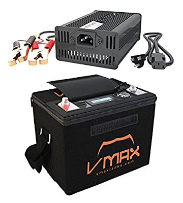 VMAXTANKS VMAX VPG12C-50LFP Lithium Iron 50AH 12V U1 Deep Cycle Battery for Motorguide Xi5-55/45 Trolling motor + LiFePO4 16.8V Charger + Carry Case