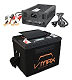 VMAX VPG12C-50Li Lithium Ion 50AH 12V U1 Deep Cycle Battery Marine for Aquos Haswing Trolling Motor + Li_Ion 16.8V Charger + Carry Case