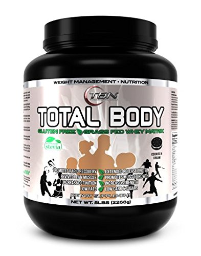 TBN Labs #1 TOTAL BODY PROTEIN is an advanced formulation for Lean Muscle Build, Muscle Definition and Weight Management. It is a Premium Protein Matrix contains seven different important protein, Flavor: Vanilla Cream, Net Wt: 5lbs, Serbing Size: 30g, Total Servings: 75.