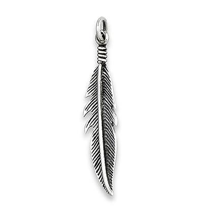 Amazon.com: Colgante de plumas de rayas, plata de ley 925 ...