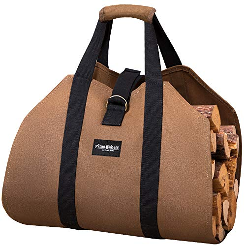 Firewood Log Carrier Waxed Canvas Wood Tote Bag Large Fireplace Fire Wood Log Carrying Sturdy Log Tote Bag Wood Holder with Handles Security Strap for Outdoor Fire Pit Camping Fireplace Accessories by AMAGABELI GARDEN & HOME