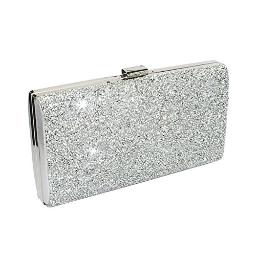 Silver Clutch Evening Bag, Fit & Wit Giltter Beaded Flap Clutch Evening Handbag Purse