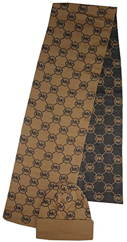 Michael Kors Women's Jetset Circle Logo Knit Scarf & Hat Set, Camel/Chocolate -