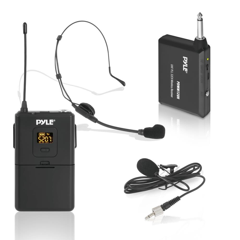 Pyle UHF 32-Channels Wireless Microphone - System Set with Headset & Lavalier Lapel Microphones, Beltpack Transmitter, Clip on Lavalier Mic & Receiver - Perfect for Karaoke & Conference - PDWM12UH by Pyle
