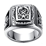 LILILEO Jewelry Stainless Steel Retro Muslim Sign 2-Headed Eagle Ring For Men's Rings