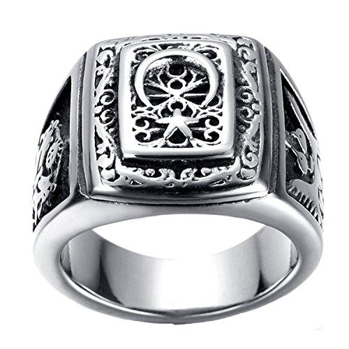 LILILEO Jewelry Stainless Steel Retro Muslim Sign 2-Headed Eagle Ring For Men's Rings by LILILEO