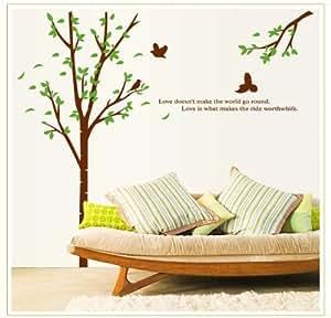 Nuevo dise o simple naturaleza rbol verde p jaros con for Adhesivos pared dormitorio