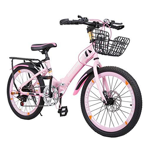 Folding Kids Bike 18/20 inch, 7 Speed Double Disc Brake BMX Bike for 6-15 Years Boy and Girl, Children Teens, Portable…