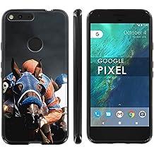 Google [Pixel] Phone Case [ArmorXtreme] [Black] Designer Image [Flexi Gel TPU] - [Horse Racing] for Google Pixel