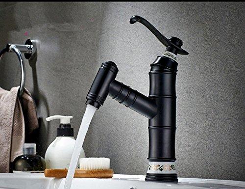 MEIBATH Waschtischarmatur Badezimmer Waschbecken Wasserhahn Küchenarmaturen Messing Pull-Out-Warmes und Kaltes Wasser Ausziehbar 1 Loch schwarz Öl eingerieben Bronze Küchen Wasserhahn Badarmatur