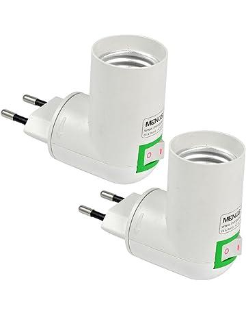 MENGS® Pack de 2 PP de calidad en E27 adaptador convertidor de enchufe de la