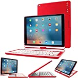 iPad Pro 12.9 2015 Keyboard, Snugg [Red] Wireless Bluetooth Keyboard Case Cover 360°