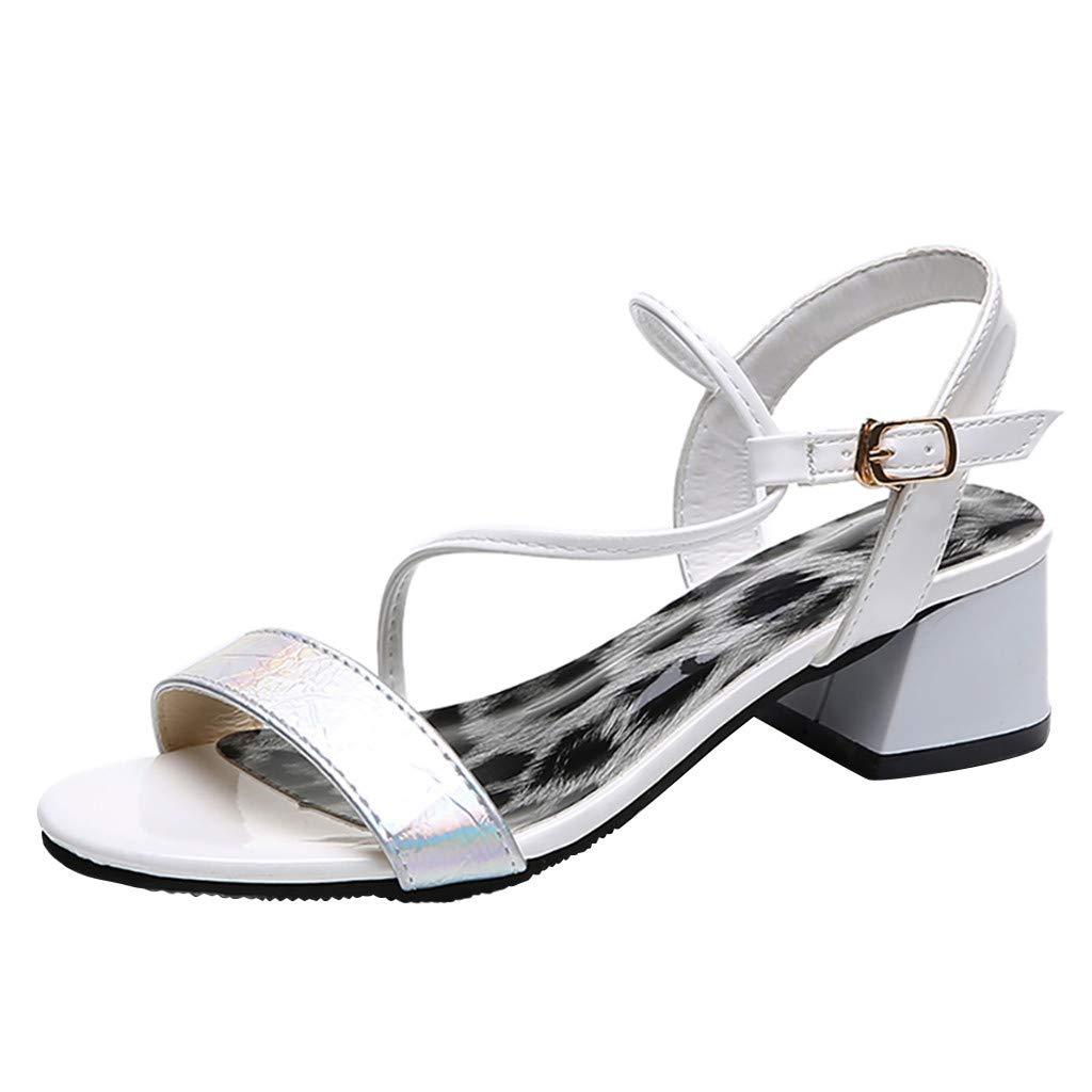 YKARITIANNA Women's Ladies Fashion Bohemia Style Buckle Leopard Beach Sandals Casual Shoes White by YKARITIANNA Shoes