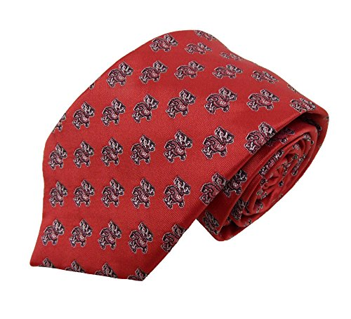 - NCAA Wisconsin Badgers Repeating Primary Necktie with Bucky Logo, Red, One Size