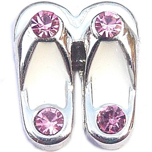 White Flip Flops With Pink Accents Floating Locket (Accent Flip Flop Charm)