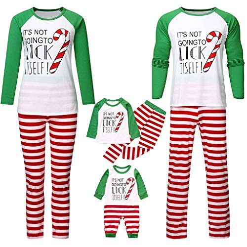 Family Matching Christmas Pajamas Set,Crytech Cozy Infant Baby Romper Letter Print Santa Tree Top and Stripe Lounge Pant for Mom Dad Kid Xmas Holiday Pjs Party Outfit Clothes (3-6 Months, Newborn)