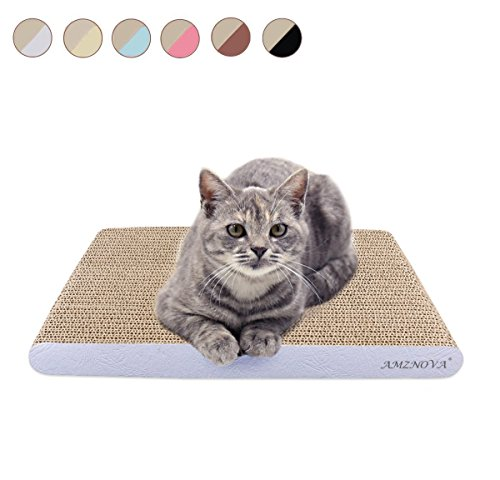 AMZNOVA Cat Scratching Pad, Durable Cardboard, Cat Scratcher with Catnip, Wide, Textured White(Upgraded)