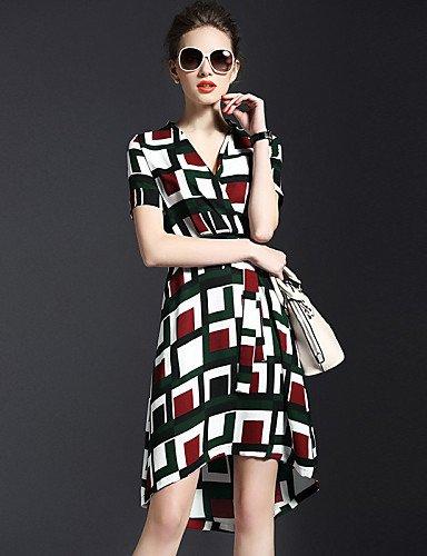 PU&PU Robe Aux femmes Swing Simple / Street Chic,Imprimé Col en V Asymétrique Nylon , green-l , green-l