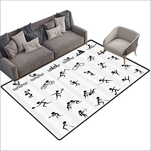 Kids Bedroom Mats Decorative Olympics Decorations,Summer Sport Icons Collection of Boating Boxing Swimming Weightlifting Shooting,Black White 48