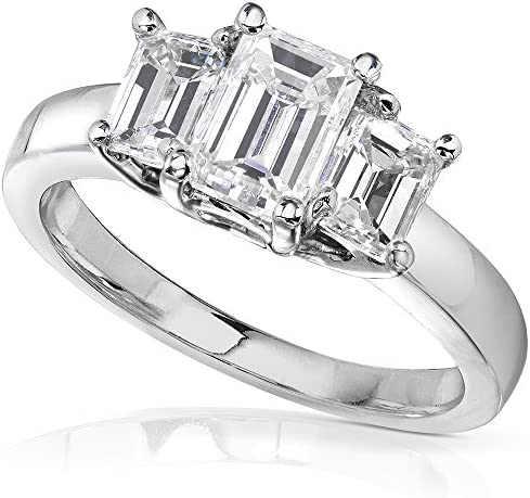 Kobelli Emerald-cut Moissanite Three-stone Engagement Ring 1 5/8 CTW 14k White Gold