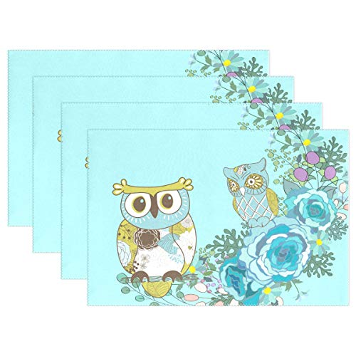 - Placemats Blue Owl Flower Kitchen Table Mats Resistant Heat Placemat for Dining Table Washable 1 Piece