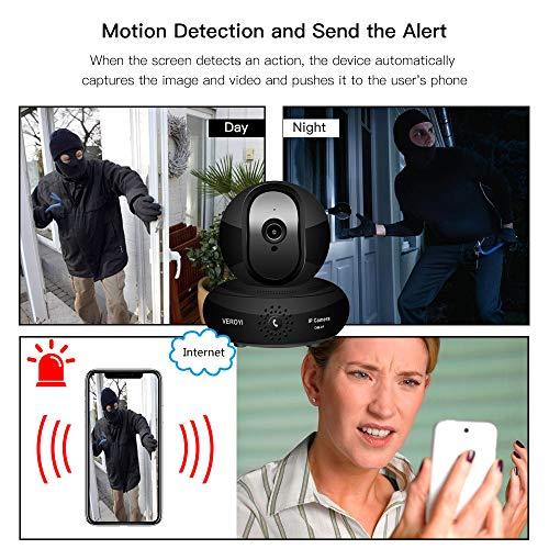 Veroyi Wireless IP Camera HD 1080P WiFi Home Security Surveillance Camera, 120° Wide Angle, 2 Way Audio Reverse Call, Night Vision Dome Camera