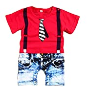 Popbop Baby Boys Cotton Short Sleeve Funny Onesies Printed Bodysuit Rompers Summer Clothes Red Age 6M
