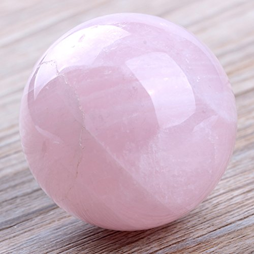 banshren® Natural Carved 30mm Pink Rose Quartz Sphere Ball Healing Crystals ()