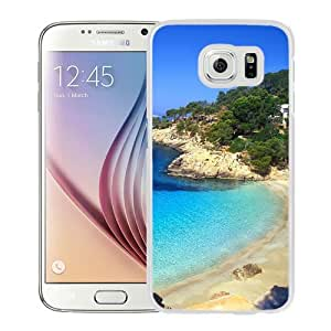 NEW Unique Custom Designed Samsung Galaxy S6 Phone Case With Ibiza Beach Landscape_White Phone Case