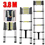 CDCPortable 3.8M Multi-Purpose Telescopic Ladders - Max. Loading of 150kg - Aluminium Fodable Extendable Extension Steps Ladder