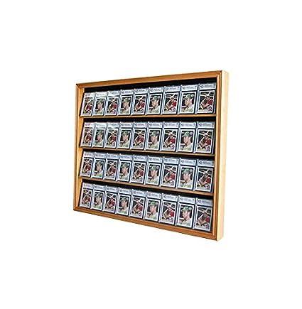 Lockable 36 Graded Sports Card Display Case For Football Baseball Basketball Hockey Cards Oak Finish Cc02 Oa
