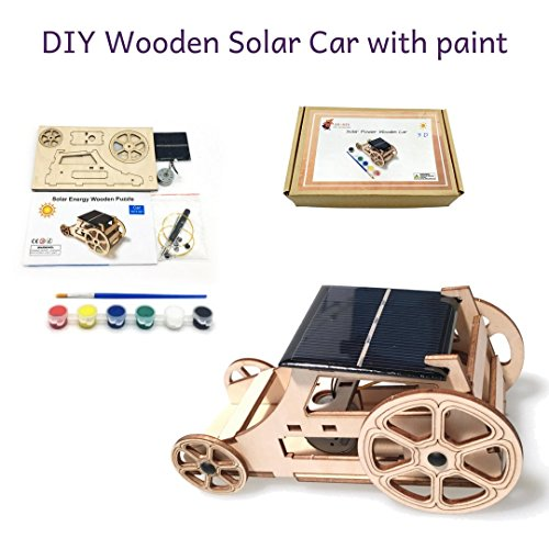 3D DIY Wooden Solar Car Kit - Science Toy Project with Color and Brush - Solar-Powered Puzzle Educational Activity - Build And Decorate your Car For Kids and Adults Car Solar Robot Kit