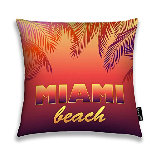 Randell Throw Pillow Covers Neon Miami Beach Palm Leaves Silhouettes Night Party Poste Home Decorative Throw Pillowcases Couch Cases 16
